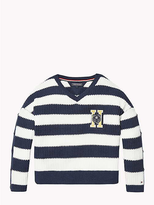 TOMMY HILFIGER Stripe Button Sleeve Jumper - SNOW WHITE/BLACK IRIS - TOMMY HILFIGER Girls - main image