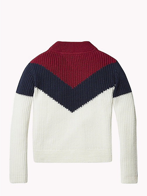 TOMMY HILFIGER High Neck Chevron Jumper - SNOW WHITE / MULTI - TOMMY HILFIGER Knitwear - detail image 1
