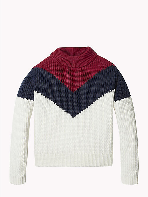 TOMMY HILFIGER High Neck Chevron Jumper - SNOW WHITE / MULTI - TOMMY HILFIGER Knitwear - main image
