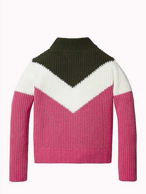 TOMMY HILFIGER High Neck Chevron Jumper - PINK FLAMBE/MULTI - TOMMY HILFIGER Girls - detail image 1