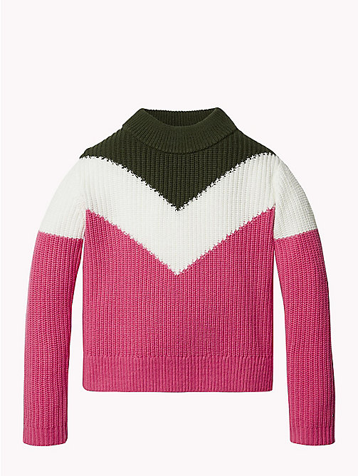 TOMMY HILFIGER High Neck Chevron Jumper - PINK FLAMBE/MULTI - TOMMY HILFIGER Girls - main image