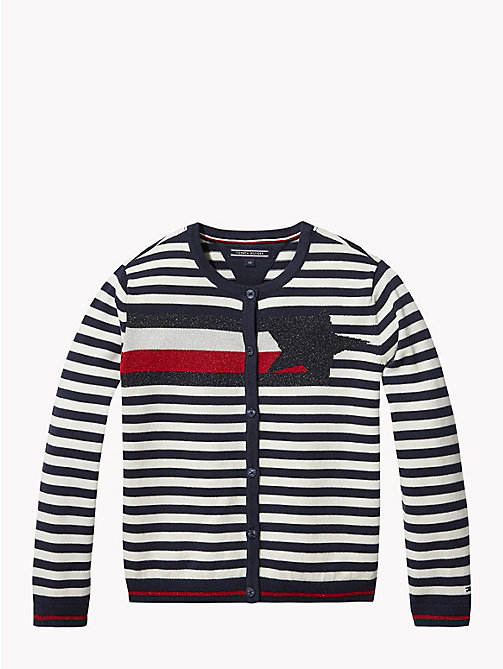 TOMMY HILFIGER Woven Star Stripe Cardigan - BLACK IRIS / SNOW WHITE - TOMMY HILFIGER Knitwear - main image