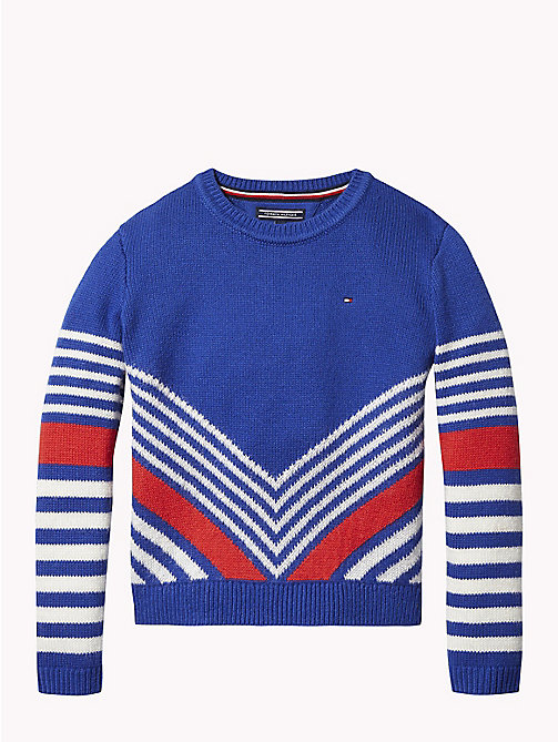 TOMMY HILFIGER Kids' Chevron Jumper - MAZARINE BLUE/MULTI - TOMMY HILFIGER Girls - main image