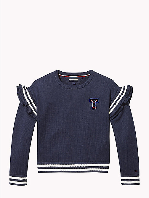 TOMMY HILFIGER Stripe Ruffle Jumper - BLACK IRIS - TOMMY HILFIGER Girls - main image