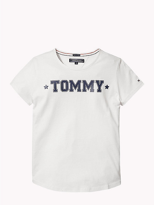 TOMMY HILFIGER Graphic Crew Neck T-Shirt - SNOW WHITE - TOMMY HILFIGER Girls - main image