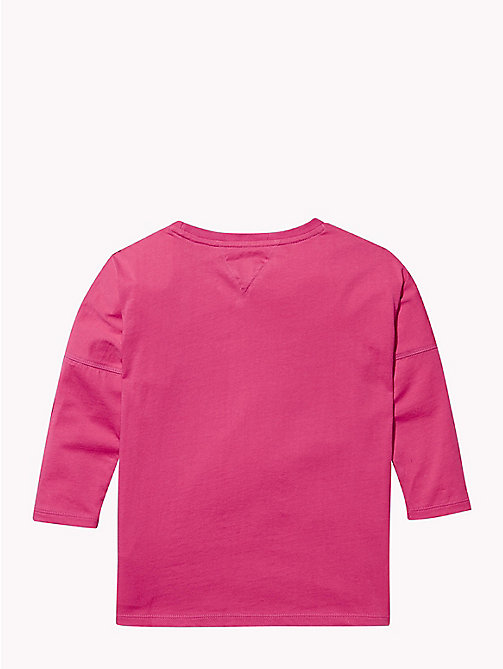 TOMMY HILFIGER Long Sleeve Cursive Logo T-Shirt - PINK FLAMBE - TOMMY HILFIGER Tops & T-shirts - detail image 1