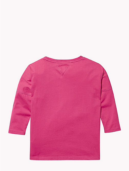 TOMMY HILFIGER Long Sleeve Cursive Logo T-Shirt - PINK FLAMBE - TOMMY HILFIGER Girls - detail image 1