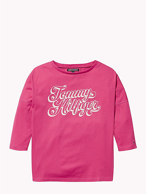 TOMMY HILFIGER Long Sleeve Cursive Logo T-Shirt - PINK FLAMBE - TOMMY HILFIGER Girls - main image