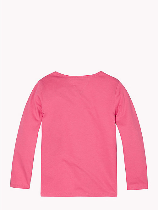 TOMMY HILFIGER Organic Cotton Tommy Hilfiger Logo Top - PINK FLAMBE - TOMMY HILFIGER Tops & T-shirts - detail image 1