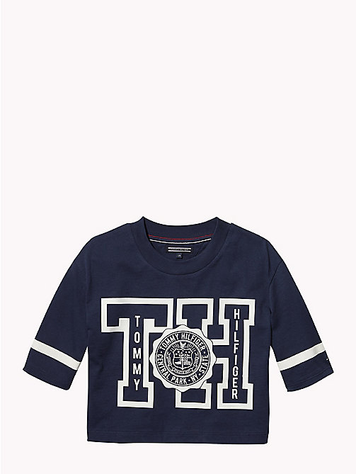 TOMMY HILFIGER Boxy Three Quarter Sleeve T-Shirt - BLACK IRIS - TOMMY HILFIGER Girls - main image