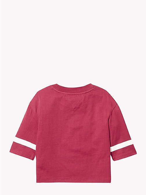 TOMMY HILFIGER Boxy Three Quarter Sleeve T-Shirt - RUMBA RED - TOMMY HILFIGER Tops & T-shirts - detail image 1