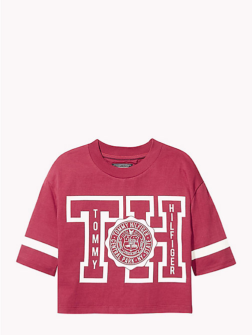TOMMY HILFIGER Boxy Three Quarter Sleeve T-Shirt - RUMBA RED - TOMMY HILFIGER Girls - main image