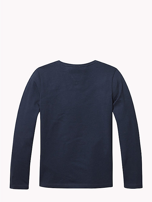 TOMMY HILFIGER Sequin Logo Long Sleeve T-Shirt - BLACK IRIS - TOMMY HILFIGER Tops & T-shirts - detail image 1