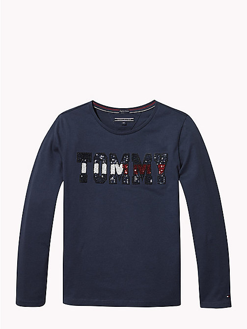 TOMMY HILFIGER Sequin Logo Long Sleeve T-Shirt - BLACK IRIS - TOMMY HILFIGER Girls - main image