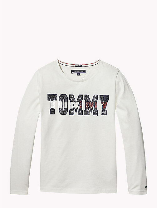 TOMMY HILFIGER Sequin Logo Long Sleeve T-Shirt - SNOW WHITE - TOMMY HILFIGER Tops & T-shirts - main image