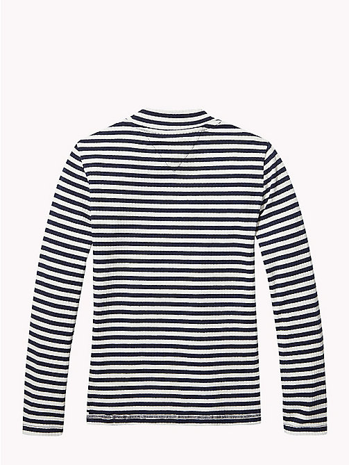 TOMMY HILFIGER Nora All-Over Stripe Top - SNOW WHITE/BLACK IRIS - TOMMY HILFIGER Tops & T-shirts - detail image 1