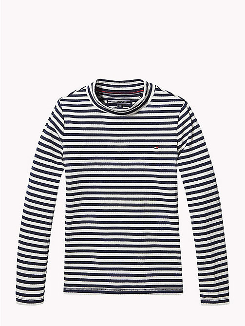 TOMMY HILFIGER Nora All-Over Stripe Top - SNOW WHITE/BLACK IRIS - TOMMY HILFIGER Tops & T-shirts - main image