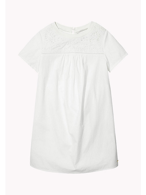 TOMMY HILFIGER Embroidered Yoke Dress - BRIGHT WHITE - TOMMY HILFIGER Kids - main image