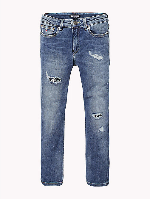 TOMMY HILFIGER Slim Fit Distressed Jeans - FOREST LIGHT BLUE STRETCH - TOMMY HILFIGER Girls - main image