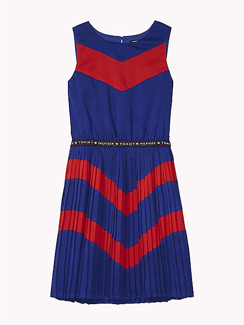 TOMMY HILFIGER Pleated Dress - MAZARINE BLUE/TRUE RED - TOMMY HILFIGER Girls - main image