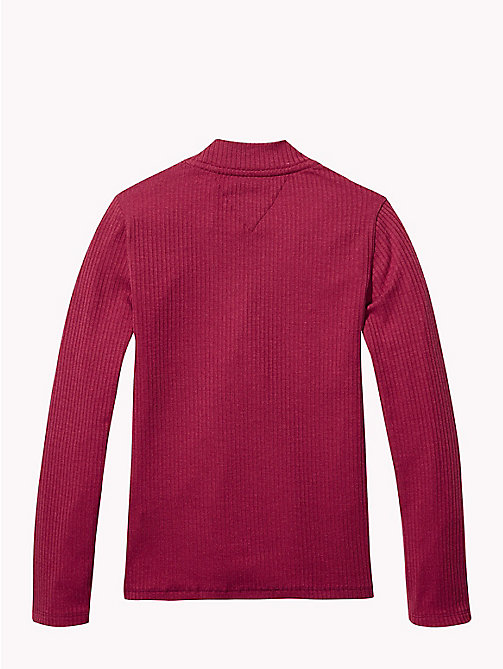 TOMMY HILFIGER Rib-Knit Long Sleeve Top - RUMBA RED - TOMMY HILFIGER Tops & T-shirts - detail image 1