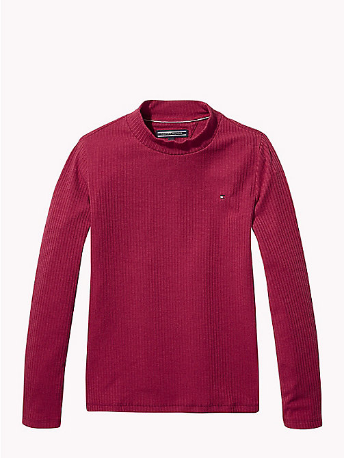 TOMMY HILFIGER Rib-Knit Long Sleeve Top - RUMBA RED - TOMMY HILFIGER Tops & T-shirts - main image