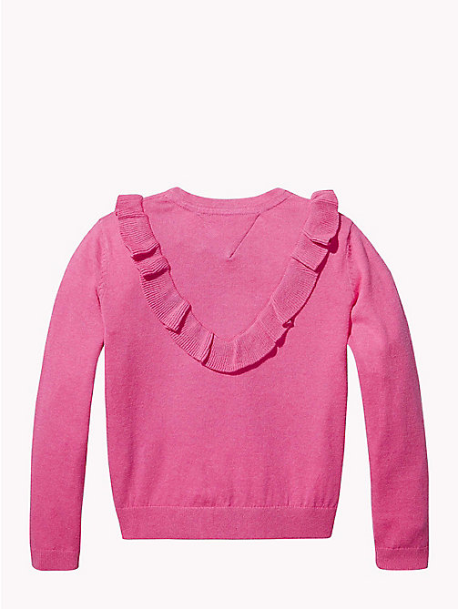 TOMMY HILFIGER Ruffle Detail Jumper - PINK FLAMBE HEATHER - TOMMY HILFIGER Knitwear - detail image 1