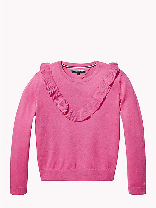 TOMMY HILFIGER Ruffle Detail Jumper - PINK FLAMBE HEATHER - TOMMY HILFIGER Knitwear - main image