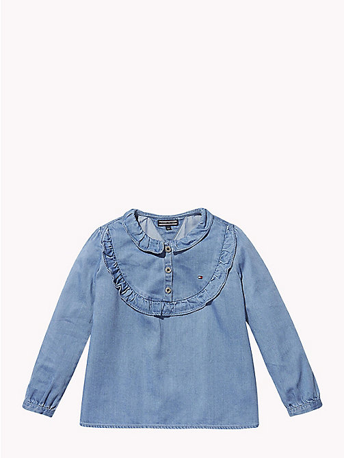 TOMMY HILFIGER Ruffle Detail Denim Top - REDDING NEW MID - TOMMY HILFIGER Tops & T-shirts - main image