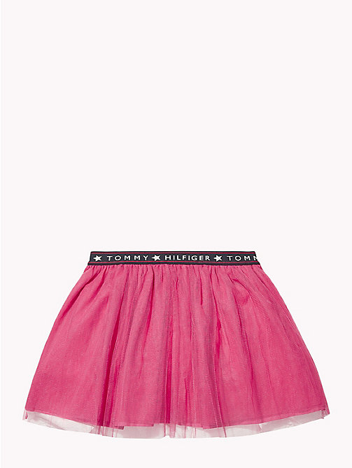 TOMMY HILFIGER Logo Waistband Tulle Skirt - PINK FLAMBE - TOMMY HILFIGER Girls - detail image 1