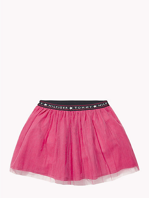 TOMMY HILFIGER Logo Waistband Tulle Skirt - PINK FLAMBE - TOMMY HILFIGER Girls - main image