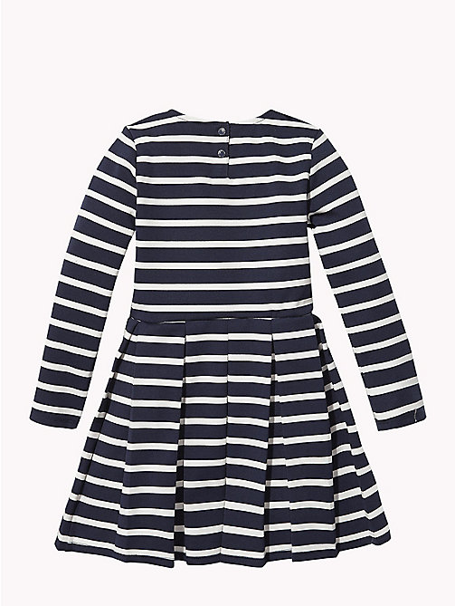TOMMY HILFIGER Stripe Long Sleeve Skater Dress - BLACK IRIS / SNOW WHITE - TOMMY HILFIGER Girls - detail image 1