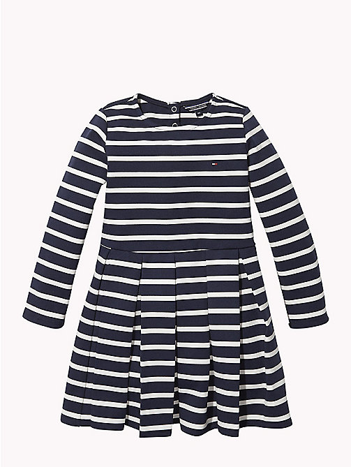 TOMMY HILFIGER Stripe Long Sleeve Skater Dress - BLACK IRIS / SNOW WHITE - TOMMY HILFIGER Girls - main image