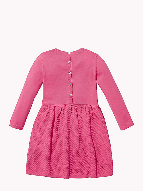 TOMMY HILFIGER Star Knit Skater Dress - PINK FLAMBE - TOMMY HILFIGER Girls - detail image 1