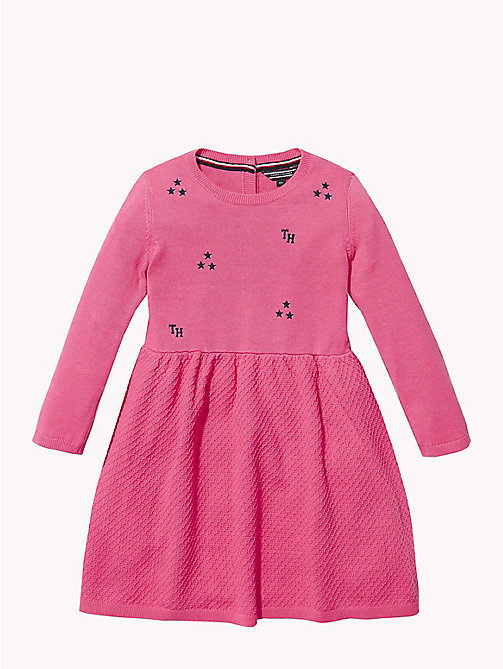 TOMMY HILFIGER Star Knit Skater Dress - PINK FLAMBE - TOMMY HILFIGER Girls - main image