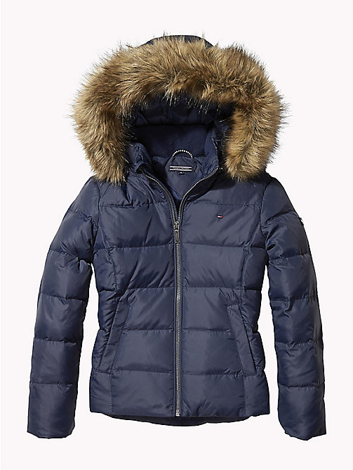 TOMMY HILFIGER Jacket With Faux Fur Trim Hood - BLACK IRIS - TOMMY HILFIGER Girls - main image