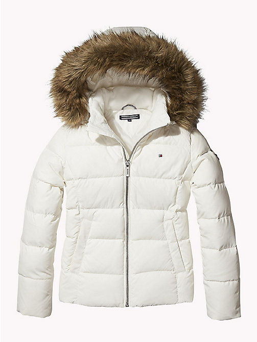 TOMMY HILFIGER Jacket With Faux Fur Trim Hood - SNOW WHITE - TOMMY HILFIGER Girls - main image