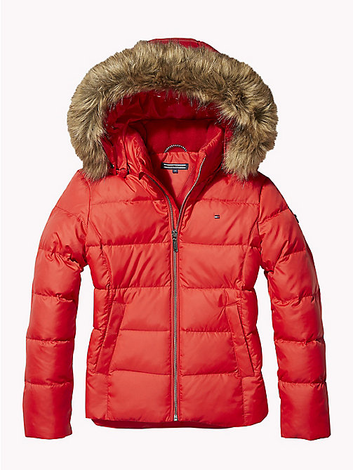 TOMMY HILFIGER Jacket With Faux Fur Trim Hood - TRUE RED - TOMMY HILFIGER Coats & Jackets - main image
