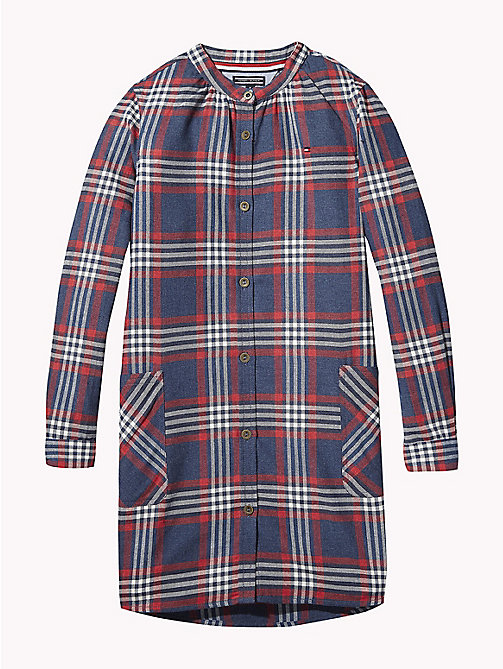 TOMMY HILFIGER Check Smock Shirt Dress - BLACK IRIS / MULTI - TOMMY HILFIGER Girls - main image