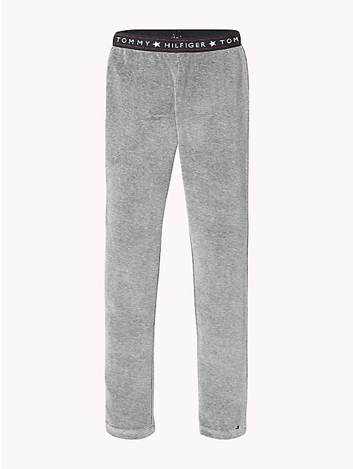 TOMMY HILFIGER Logo Waistband Velour Leggings - GREY HEATHER - TOMMY HILFIGER Trousers, Shorts & Skirts - main image