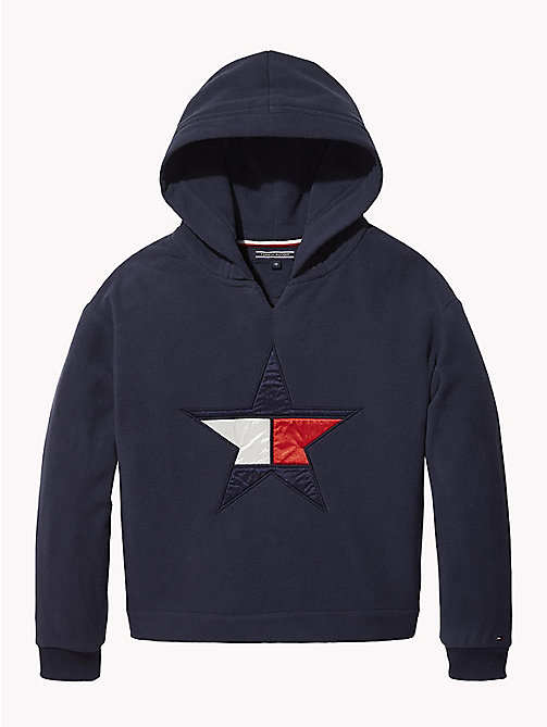 TOMMY HILFIGER Star Embroidery Fleece Hoody - BLACK IRIS - TOMMY HILFIGER Sweatshirts & Hoodies - main image