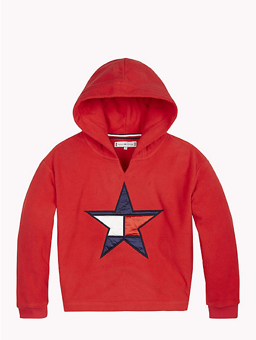 TOMMY HILFIGER Star Embroidery Fleece Hoody - TRUE RED - TOMMY HILFIGER Girls - main image