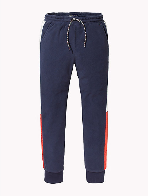 TOMMY HILFIGER Colour-Blocked Fleece Joggers - BLACK IRIS - TOMMY HILFIGER Trousers, Shorts & Skirts - main image