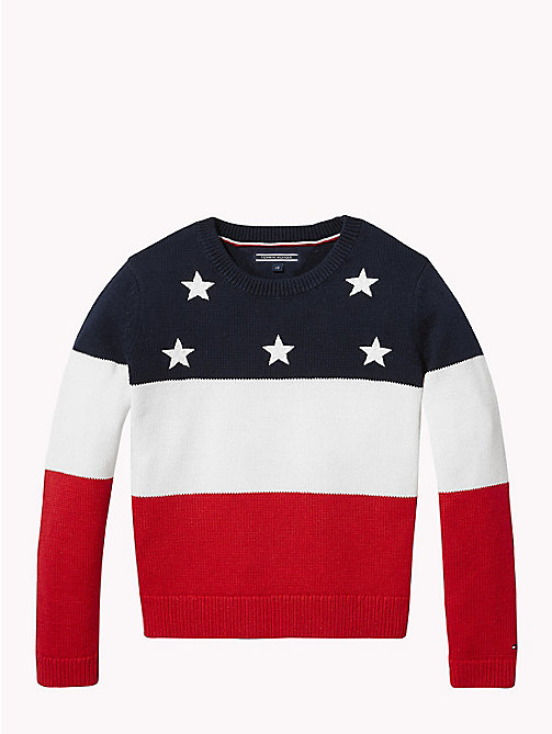 TOMMY HILFIGER Stars and Stripes Knitted Jumper - BLACK IRIS MULTI - TOMMY HILFIGER Knitwear - main image