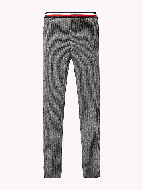 TOMMY HILFIGER Signature Tape Waistband Leggings - DARK GREY HEATHER - TOMMY HILFIGER Trousers, Shorts & Skirts - detail image 1
