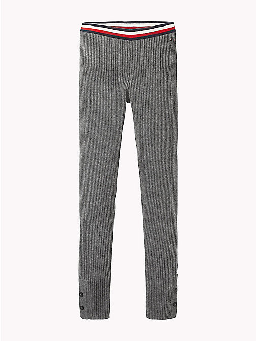 TOMMY HILFIGER Signature Tape Waistband Leggings - DARK GREY HEATHER - TOMMY HILFIGER Trousers, Shorts & Skirts - main image