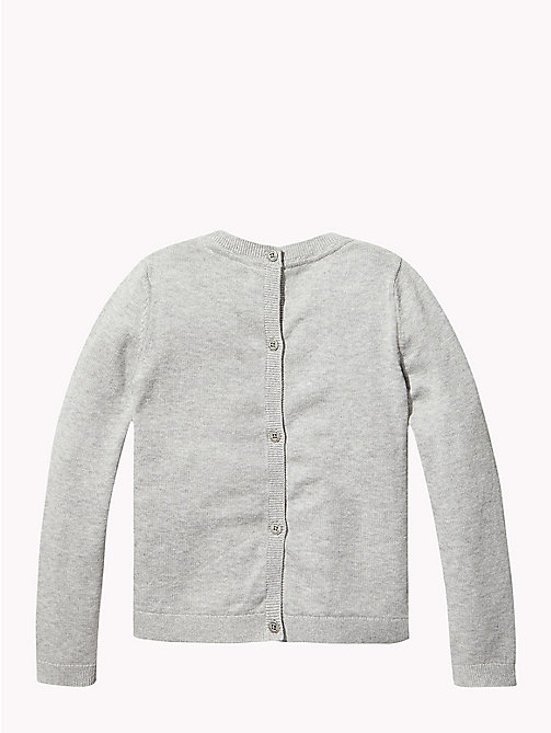 Combed Cotton Back-Button Cardigan - GREY HEATHER - TOMMY HILFIGER Knitwear - detail image 1