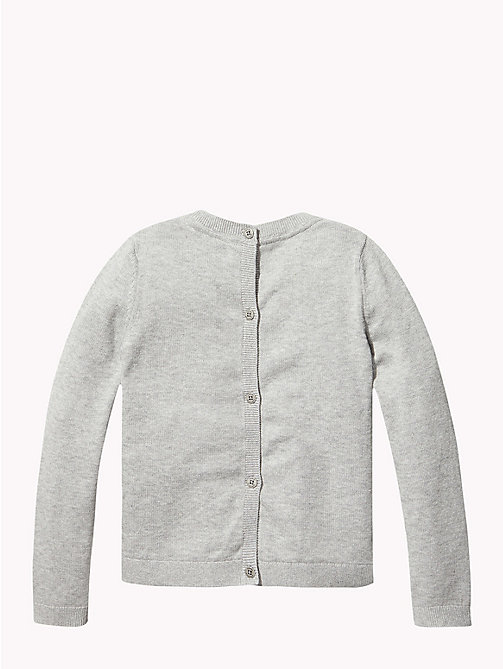 TOMMY HILFIGER Combed Cotton Back-Button Cardigan - GREY HEATHER - TOMMY HILFIGER Knitwear - detail image 1