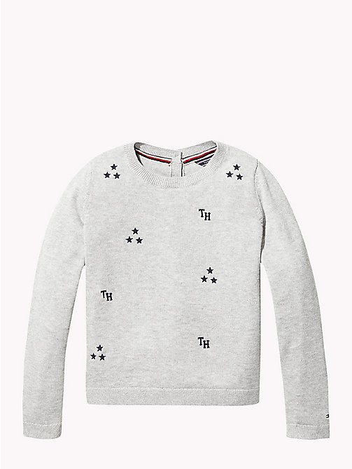 TOMMY HILFIGER Combed Cotton Back-Button Cardigan - GREY HEATHER - TOMMY HILFIGER Knitwear - main image