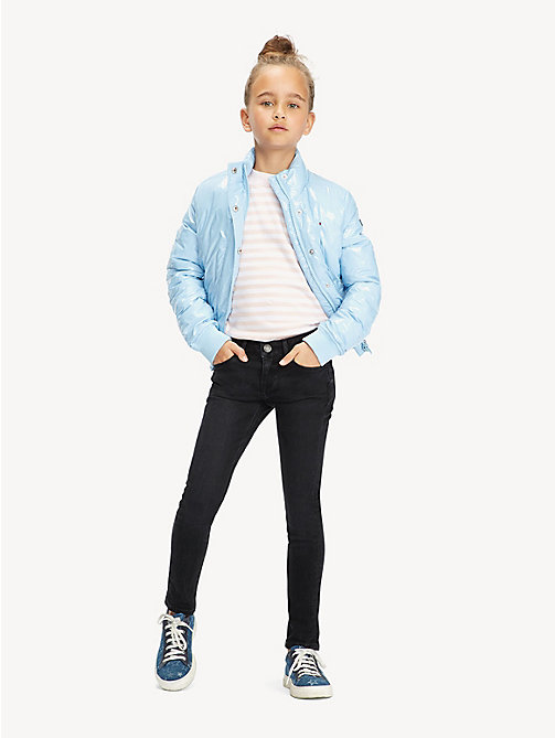 TOMMY HILFIGER Glossy Puffer Jacket - BLUE BELL - TOMMY HILFIGER Trousers, Shorts & Skirts - main image